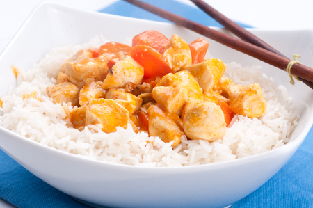 palate: indian butter chicken with carrots  over white rice