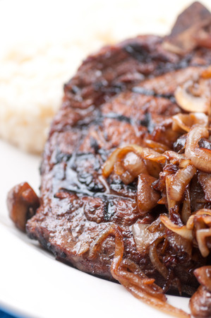 rib steak grilled to perfection with creamy risotto