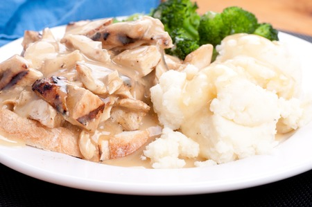 faced: open faced hot chicken sandwich with mashed potatoes