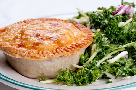 flaky: kale salad and beef pot pie with flaky crust