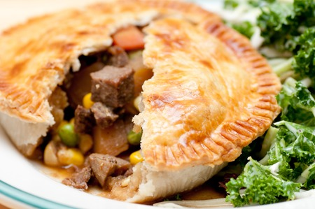crust: kale salad and beef pot pie with flaky crust