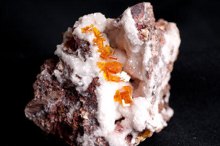 hydrothermal: wulfenite, vibrant yellow or orange gemstone crystal mineral sample