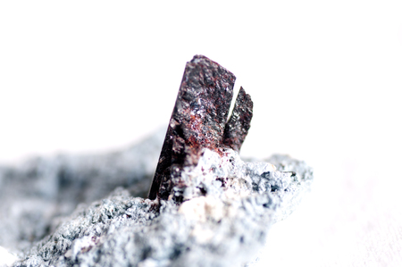 fibrous: neptunite and natrolite on crossite or crisite mineral sample crystals Stock Photo