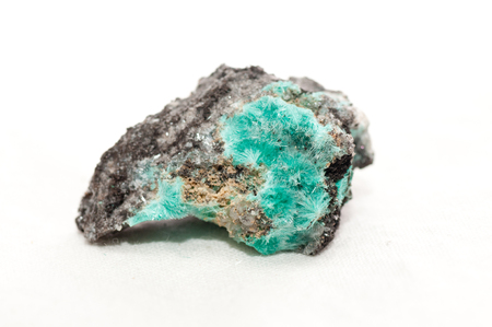 sulfate: chalcedony with hemimorphite crystal mineral sample, rare earth elements Stock Photo