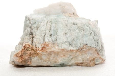 mineralized: beryl crystal mineral sample on white background Stock Photo