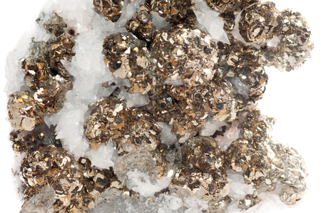 crystalline gold: pyrite or fools gold mineral sample in quartz