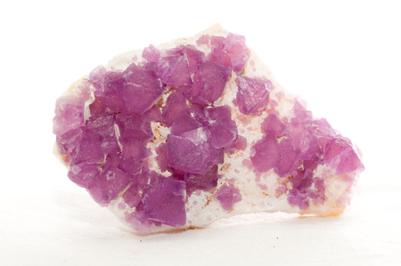 cubic: pink purple colored fluorite cubic crystal mineral sample Stock Photo