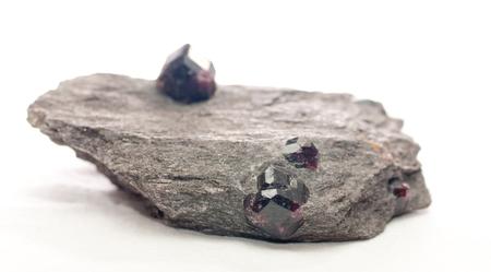 schist: almandine with schist crystal gemstone mineral sample, uncut