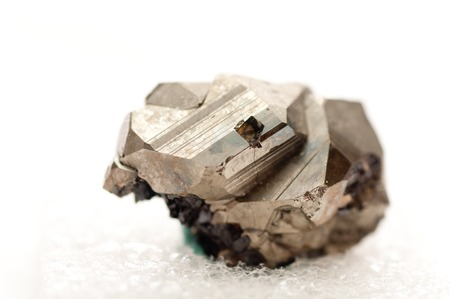 crystalline gold: iron pyrite metal, fools gold mineral sample