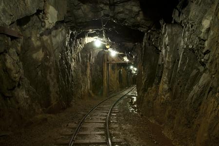 carbone: un tunnel sotterraneo in una miniera di rame Archivio Fotografico