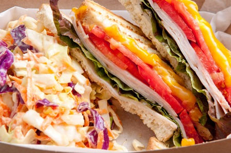 cole: grilled turkey and cheese panini with home made cole slaw truck food style