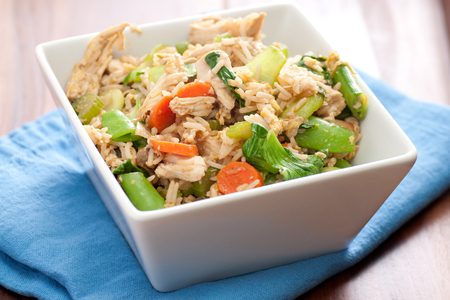 hoisin sauce: healthy chicken stir fry with farm fresh vegetables stock photo