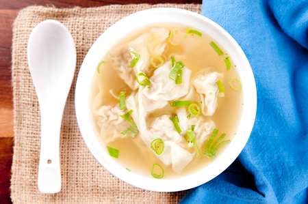 tons: hand made won tons stuffed with pork in a delicious broth