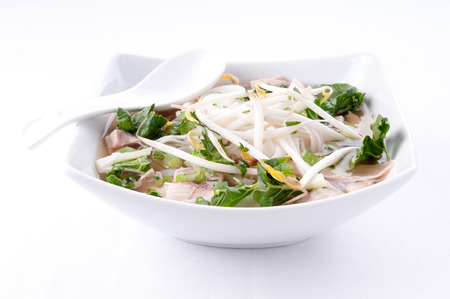 bean sprouts: vietnamese pho soup, an ethnic meal of chicken soup, broth, bean sprouts, noodles and basil or cilantro floating on top