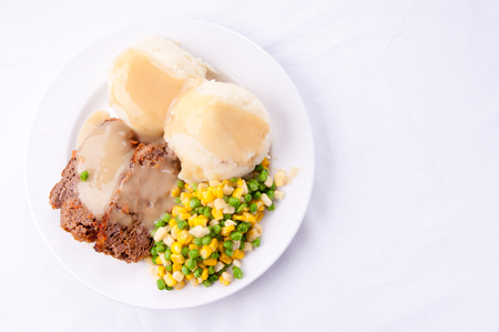 meatloaf: meatloaf with mashed potatoes and gravy