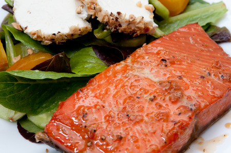 maple glazed grilled salmon with goat cheese and beet salad