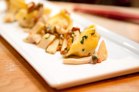 made by hand: hand made squash tortellini with mushroom ragout