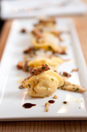 ragout: hand made squash tortellini with mushroom ragout