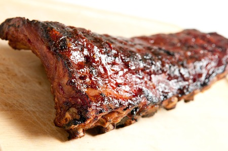 meaty: pork bbq ribs, meaty ribs smothered with bbq sauce Stock Photo