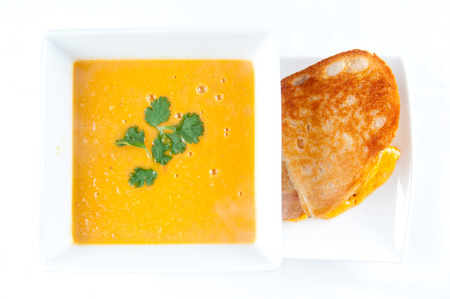 simple meal: tomato garbanzo soup made with cocnut milk with grilled cheese sandwich. A healthy meal