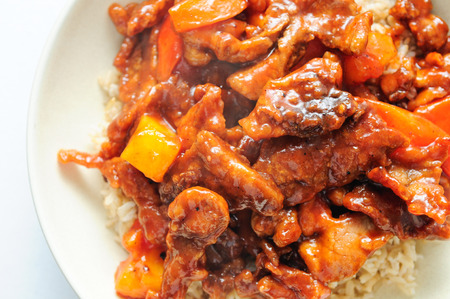 take out food: sweet and sour pork, a chinese take out food with pineapple