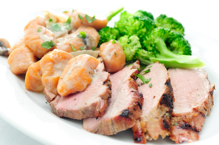 tenderloin: grilled pork tenderloin with sweet potato gnocchi and mushroom sauce
