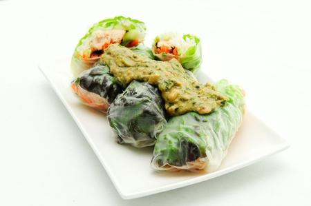 peanut sauce: rice paper wrapped chicken with vermicelli noodles and a thai peanut sauce