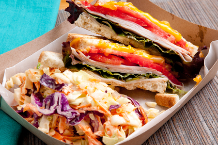 fried food: grilled turkey and cheese panini with home made cole slaw truck food style