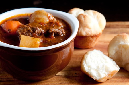 cloverleaf: hearty home made stew with lamb and fresh vegetables and buns for dipping