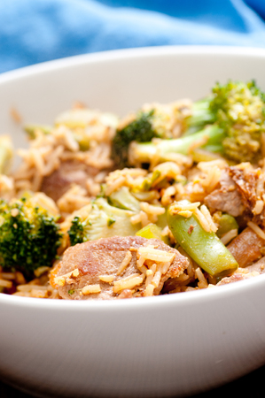 flank: flank steak beef stir fry with bok choy and healthy vegetables and rice stock photo
