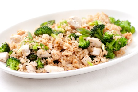 hoisin: stir fry rice and chicken with broccoli