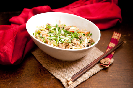 hoisin sauce: wok fried chicken stir fry with rice and chinese vegetables
