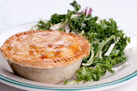 kale salad and beef pot pie with flaky crust