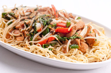 healthy home made chicken chow mein or chow mien with crispy noodles