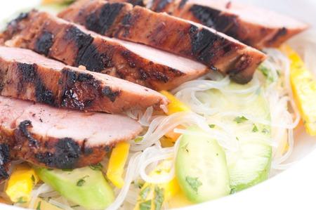 pork tenderloin: mango noodle salad with bbq pork tenderloin