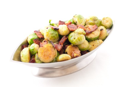 side dish: side dish of brussel sprouts with diced bacon for a holiday feast