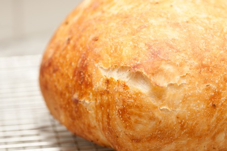 hand made artisinal 18 hour overnight fresh bread with rosemary, artisan style stock photo
