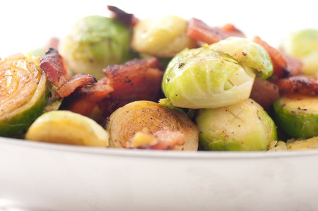 side dish of brussel sprouts with diced bacon for a holiday feast
