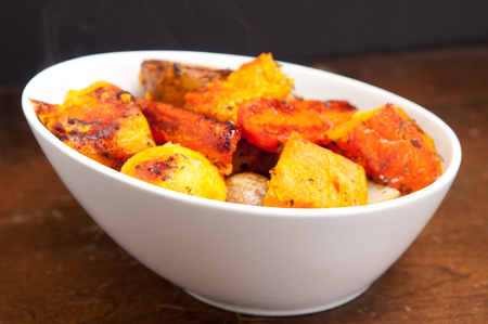 roasted carrots, potatoes and yams for holiday side dish