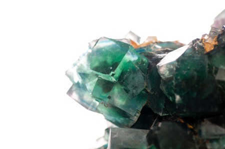 octahedral: multi colored fluorite mineral crystal sample for science and geology