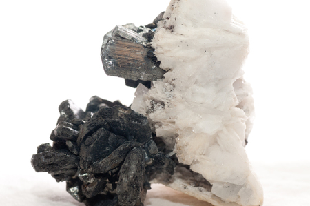 antimony: stibnite mineral crystal sample with quartz and pyrite metal Stock Photo