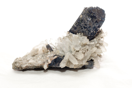 hydrothermal: galena dark metal and crystal mileral sample with quartz and granite
