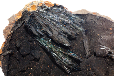 vivianite crystal mineral sample very dark with striations