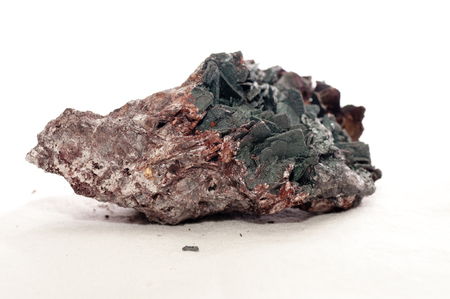 hydrothermal: goethite and kyanite crystal metal and mineral samples Stock Photo