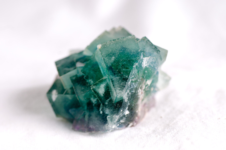 octahedral: large green blue fluorire mineral crystal sample, science
