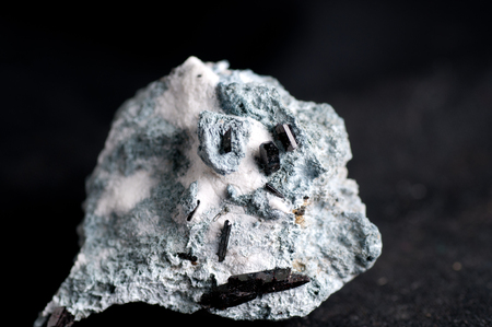 fibrous: neptunite, natrolite on crosite or crossite mineral sample with crystals