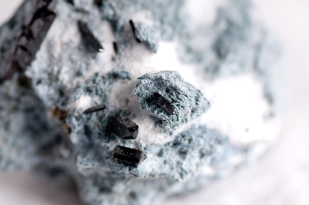 aggregates: neptunite, natrolite on crosite or crossite mineral sample with crystals