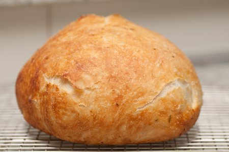 overnight: hand made artisinal 18 hour overnight fresh bread with rosemary, artisan style stock photo
