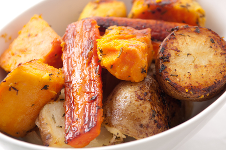 side dish: roasted carrots, potatoes and yams for holiday side dish