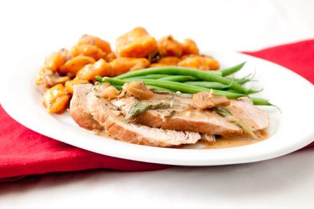 pork tenderloin: sweet potato gnocchi with pork tenderloin and mushroom sauce